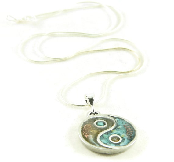 Orgone Energy Small Yin-Yang Pendant Necklace in Turquoise and Carnelian with Sterling Silver Chain - Artisan Jewelry