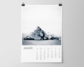 SALE, 2017 Calendar, Iceland, Travel Calendar, Office Decor, Wall Calendar, 2017 Calendar, Office Calendar, Iceland Travel Photography