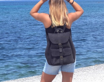 Ready to ship extra Large black nubuck leather backpack / Women/Men backpack