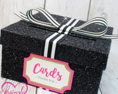 Cardbox -  Glitter Black, Hot Pink, Gold, Black & White Stripped Ribbon-  Gift Money Box for Any Event - Baby Shower, Wedding, Bridal Shower