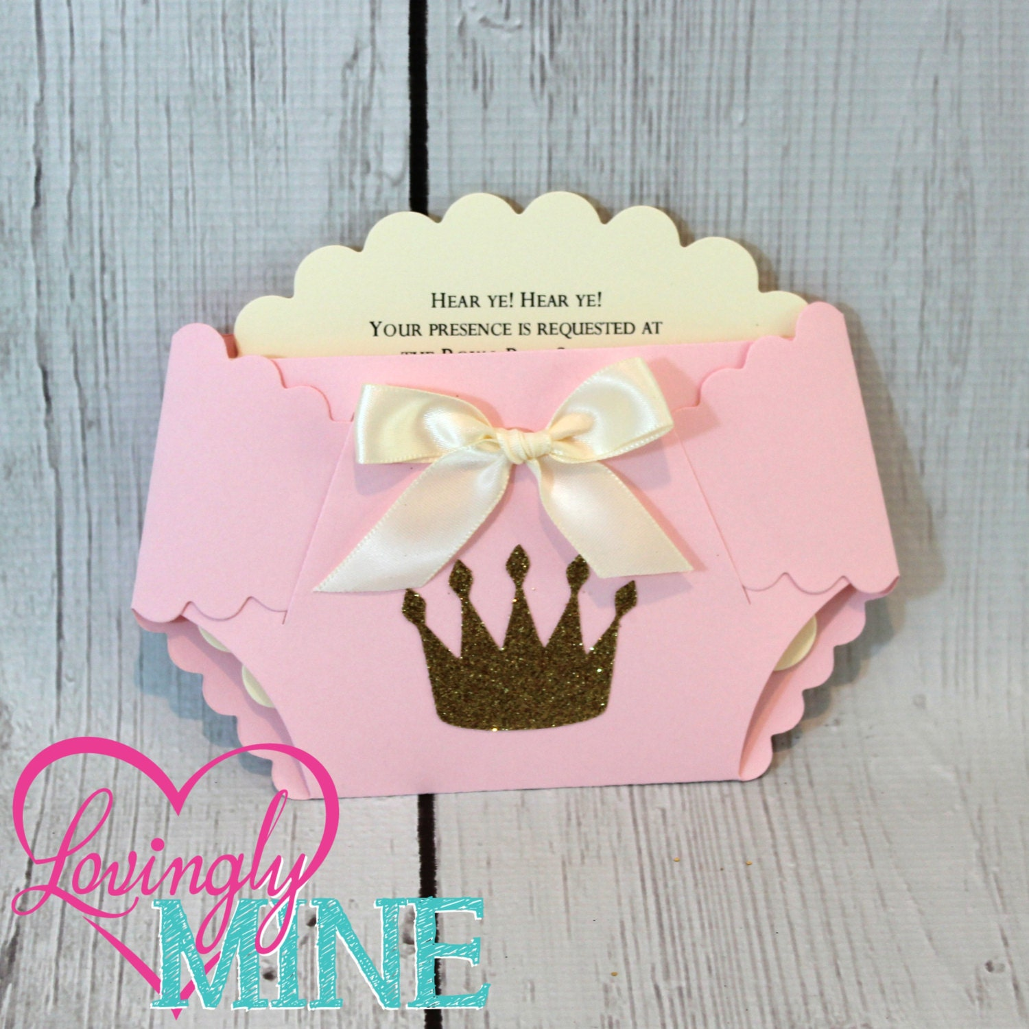 Princess Baby Shower Diaper Invitations in Baby Pink Ivory