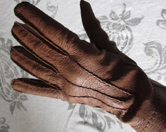 Brown Leather Gloves size 7 vintage driving gloves retro high fashion soft leather