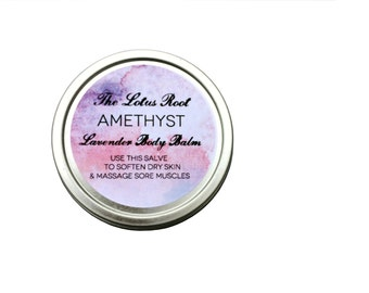 Large / Amethyst: 2 oz Lavender Body Balm, Herbal Salve for hands and body