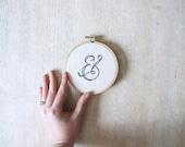 Calligraphy Alphabet Embroidery Hoop Wall Art on Linen
