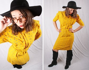 Vintage 80s Paisley Yellow Dress / Size Small
