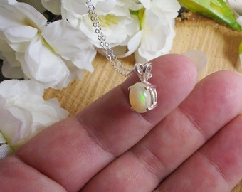 October Birthstone White Ethiopian Fire Opal Necklace, Sterling Silver, .65 Carat  8.8 x 6.6 mm Natural A+ Fire Opal