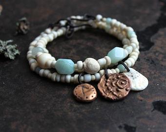 Rune bracelet Laguz, triple wrap bracelet, earthy charm bracelet, amulet boho bracelet, rustic norse bracelet, adjustable bracelet