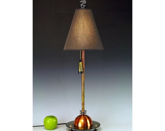 Copper and Peridot table lamp.. 247. Steam punk industrial lamp. Mid century modern. 50s Atomic.  FAR OUT