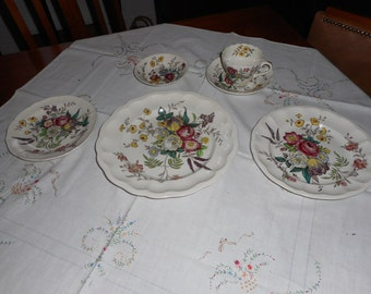 spode beautiful 6 piece dinner set by copeland numbered lovely florals in
