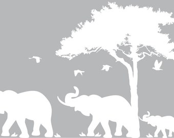 Kids and everyone vinyl wall decal Tree with mommy daddy elephant and baby and birds safari