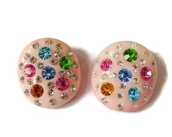 Vintage Earrings WEISS PINK Dome Celluloid Clip-On Earrings W/Sparkling Multi Colored Austrian Crystal Rhinestones
