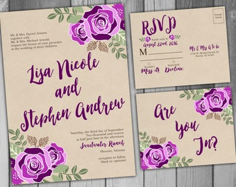Wedding Invitation Rustic Wedding Purple Wedding Wedding Invitations Printable Wedding Floral Wedding Wedding Invites RSVP Card Floral
