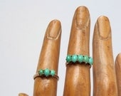 SALE Antique Victorian Turquoise Ring. Five Stone Row. 14k Gold.
