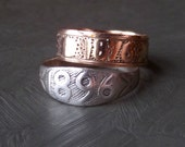 Antique Sterling Date Ring. 1896. Size 5.25
