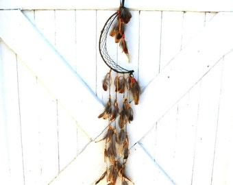 Long Boho Crescent Half Moon Dream Catcher, Brown, Red, Black, Pheasant Feathers, Hemp Webbing, Handmade Dreamcatcher