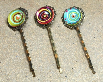 3 Bobby Pins, Ornate Cabochon, Circles in a Bubble, Burnished Brass, Heavy Duty Hair Accessories, Handmade, Green, Blue, Red Pink, Clear