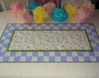 Summer Bird Table Runner, Purple and Blue Table Runner, Checkerboard Table Runner, Quilted Table Runner