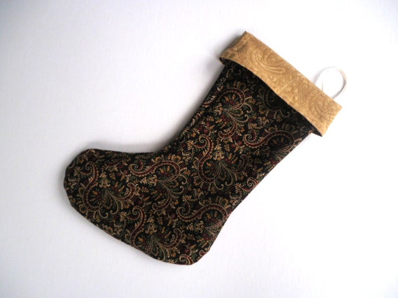 Gold Christmas Stocking, Paisley Christmas Stocking, Reversible Christmas Stocking, Black Christmas Stocking
