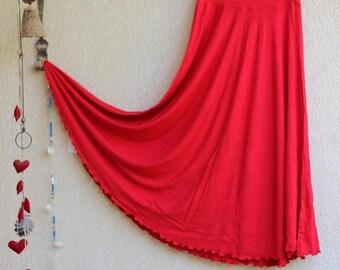 Long Jersey Skirt - Red Maxi skirt - Regular, Plus size - Pregnancy Maternity wear - Tall - Half circle skirt