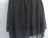 Sheer Skirt Dotted Lace Layered Black Mini Skirt Dancer Ballerina Clubwear Rocker Goth Early Madonna Size Small Medium Stretch Waistband