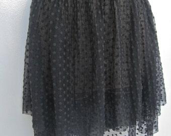 Sheer Skirt Dotted Lace Layered Black Mini Skirt Dancer Ballerina Clubwear Rocker Goth Early Madonna Size S M Stretch Waistband