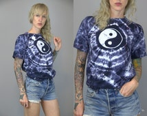 90s Ying Yang Psychedelic Tie Dye New Age Hippie T Shirt