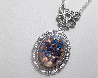 Amethyst Opal Necklace - Silver - Fire Opal  - Custom Length - Christmas Gift
