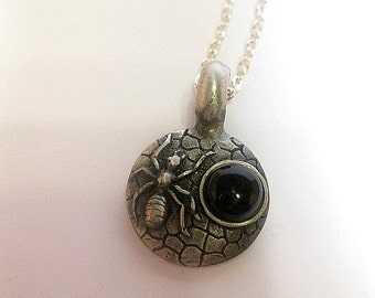 Silver Spider Necklace - Spider Jewelry - Gothic - Spider Web Pendant Necklace