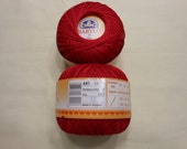 DMC BABYLO crochet thread size 10  red  a shade darker than Christmas red, deep red #321