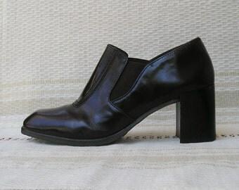 Mazzini vintage 90s brown leather shoes, size 38-39 (EUR), 7.5-8.5 (US)
