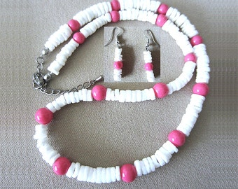 Pukka Shell & Hot Pink Glass Bead Handcrafted Necklace and Earring Set, Handmade Original Fashion Jewelry, Beach Inspired Retro Style Gift