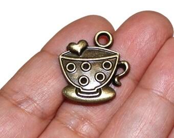 4 Coffee/Tea Cup Mug Antique Bronze Heart Charm - BCH100