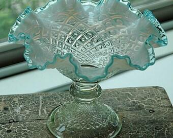 "Vintage C 1949-50 Fenton Art Glass DIAMOND LACE Pedestal COMPOTE French Opalescent w/Aqua Blue Crest Ruffled Edge 6 1/2""T x 8 1/2""Di Perfect"