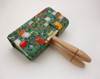Hand Carder Cover. Fabric Case for your Hand Carders. Owl Print