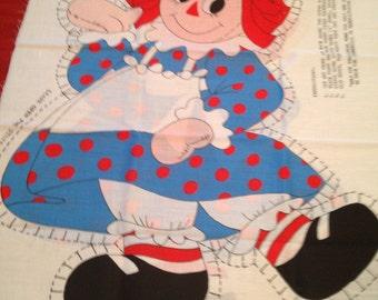Vintage RAGGEDY ANN Doll Panel