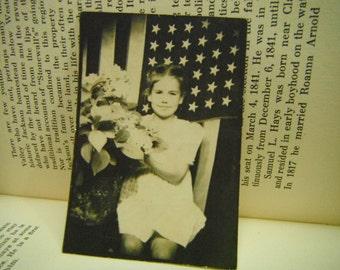 Vintage Snapshot Photo - Patriotic Little Girl - Flag Backdrop
