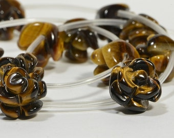 Tiger Eye 12mm 2 Beads Carved Rose Beads Natural Gemstone Bead Craft Supplie Jewelry Making