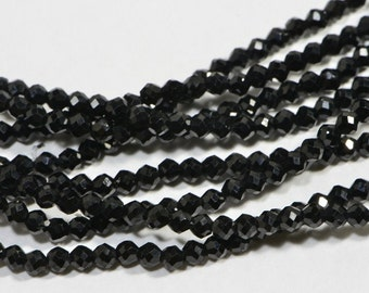 Black Onyx 2 mm Strands Faceted Round Natural Gemstone Beads Jewelry Making Supplies