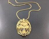 Vintage lions head necklace,Vintage Gold tone Rhinestone Lion Necklace. Vintage Lion Jewelry. Fierce Fun.