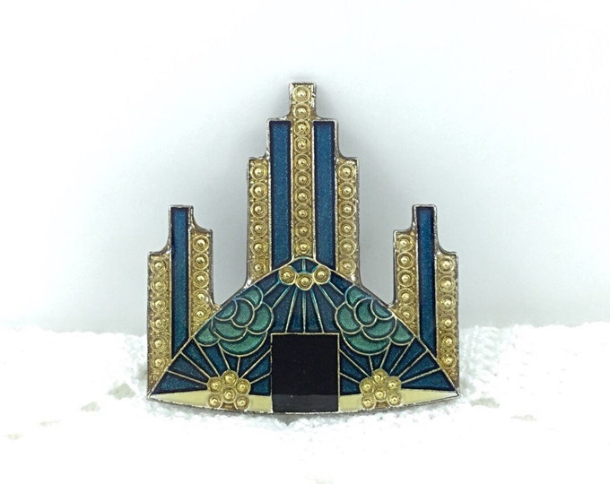 Vintage Art Deco Pierre Bex Style Brooch, French Enamel. Blue Flowers, Gold Flowers, Blue green and Gold. Enameled Tall Bar Pin. Skyscraper.