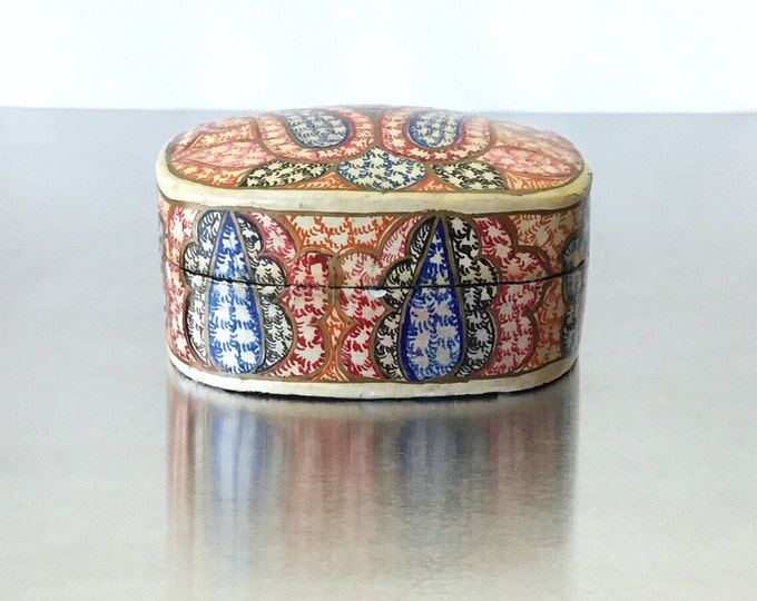 Antique Handpainted Swirls & Floral Lacquer Trinket Box / Lacquer Snuff Box. Colorful Box.