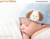 SALE NEWBORN BOY Hat, newborn hospital hat, Baby boy hat, newborn boy hat, Baby boy hospital hat with puppy, boy hospital hat, boy newborn h