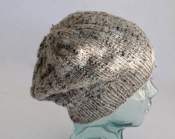 Knit Slouchy Beanie - Adult or Teen - Tan/Grey Multi Colored Hat-Christmas in July SALE - 20 % off until July 31st