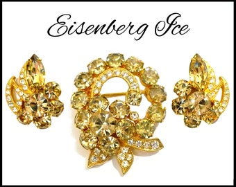 Rare Eisenbert Ice Brooch & Earrings Set, Champagne Rhinestone Brooch and Earrings, Champagne Bridal Jewelry Set, Gift for Collector