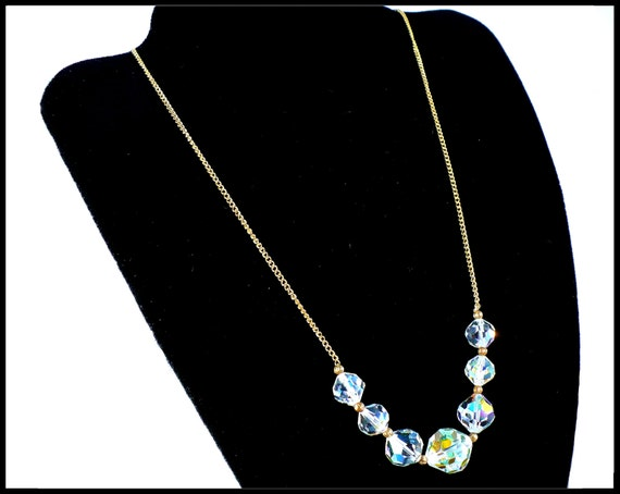 AB Crystal & Gold Chain Choker, Aurora Borealis Crystals, Bridal Jewelry Bridesmaid Flower Girl, Laguna New Old Stock, Hostess Gift For Her