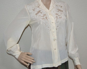 70's Vintage  Peony cream silk blouse. Hand embroidered cream blouse lacy cutout Shanghai, China blouse Christmas party blouse Mad Men