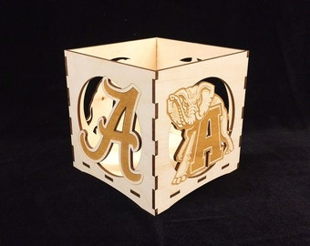 Alabama Football Wooden Candle Holder-votive candle holder-candle lanterns-tea light holders-citronella candles-roll tide unity candle