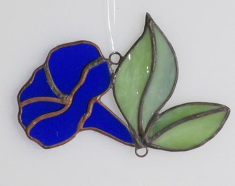 Stained Glass Blue Morning Glory Trumpet and Leaves Suncatcher - Price Includes Shipping