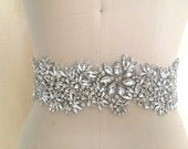 Luxury wide statement crystal bridal applique belt