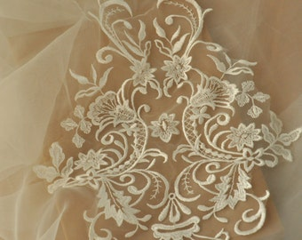 2 pieces ivory bridal gown lace applique for wedding dress, wedding hem, bodice